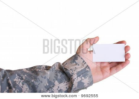 Military Hand Holding Business Card