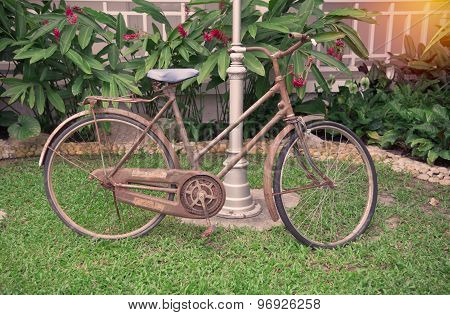 Old Bicycle In Public Park Vintage Style