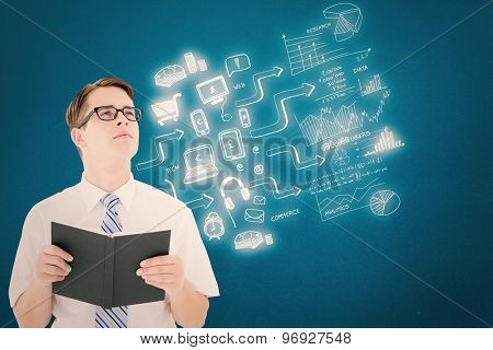 Geeky businessman reading from book against blue background