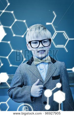 Science graphic against cute pupil dressed up as teacher in classroom