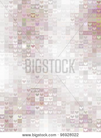 Pastel Mosaic With Hearts And Squares Ornaments