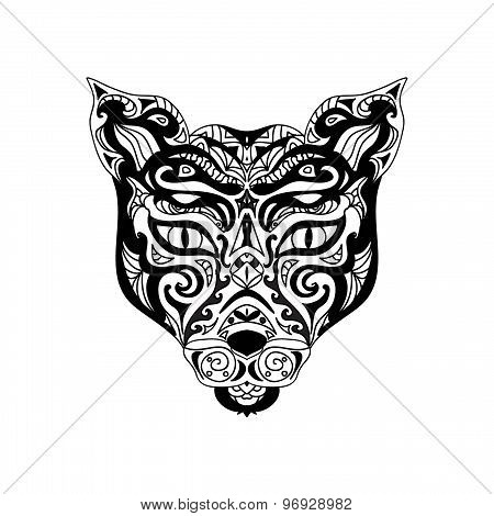 Wild cat head zentangle