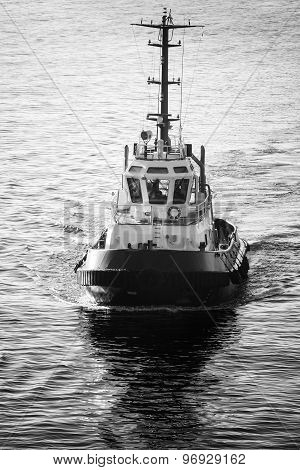 Tug Boat Underway, Front View, Black And White
