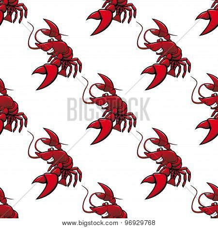 Cartoon red lobsters seamless pattern