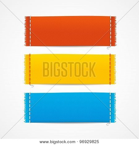 Vector realistic fabric clothing labels set