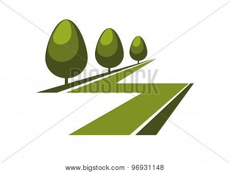 Abstract green alley icon or symbol