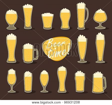 Beer in glass pint of beer flat icon set vector illustration