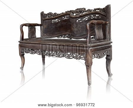 Old Styled Vintage Wooden Bench Isolated By Hand Made On White Clipping Path.