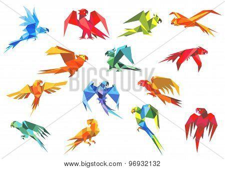 Origami paper models of parrots