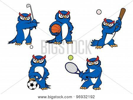 Blue cartoon owl player characters