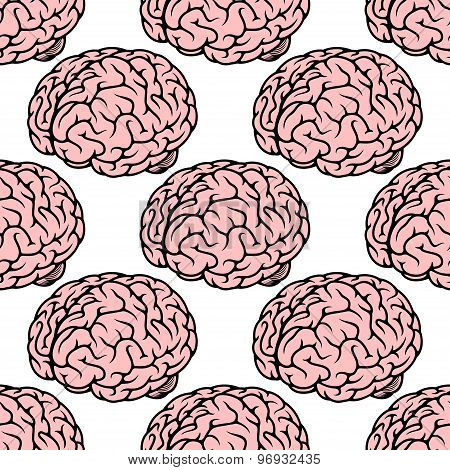 Pink human brain seamless pattern