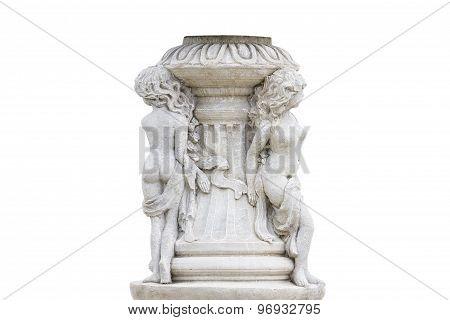 Old Roman Pillar Isolated On White