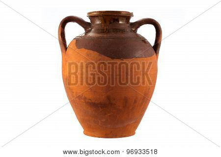 Vintage Pottery Isolated Over A White Background