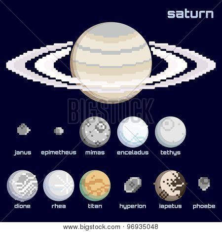 Retro minimalistic set of Saturn and moons