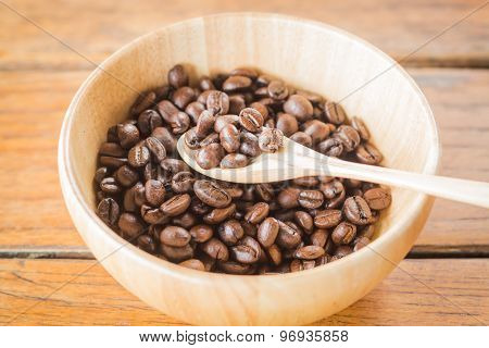 Roasted Coffee Beans In Wooden Bowl