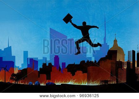 Businessman jumping with briefcase against artistic cityscape design