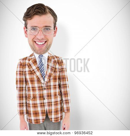 Geeky businessman against white background with vignette