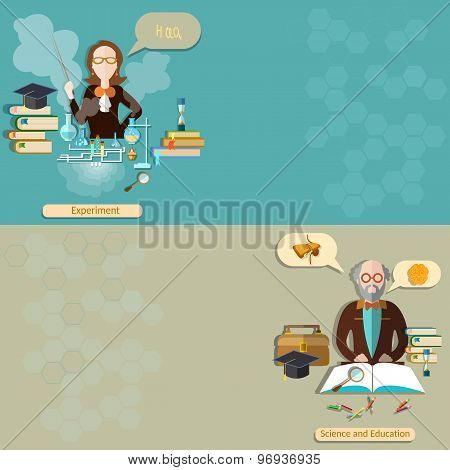 Science And Education: Teacher, Student, Professor, Lessons, School, University,vector banners