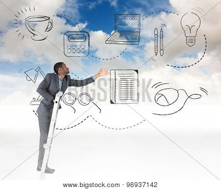 Businessman climbing up ladder against blue sky