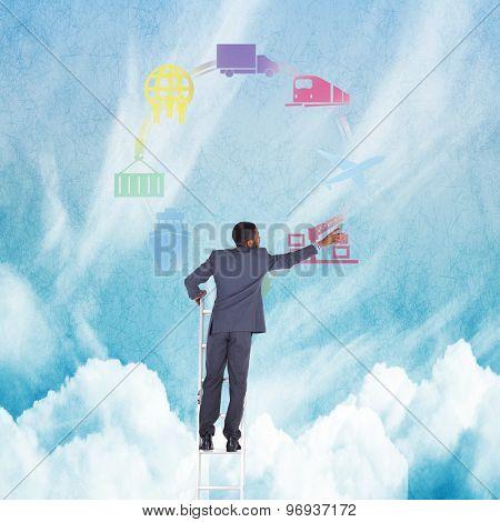 Businessman standing on ladder against blue sky