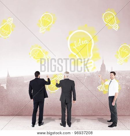 Business team writing against city scene in a room