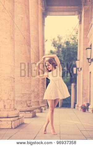 Boho Girl Dancing Outdoors