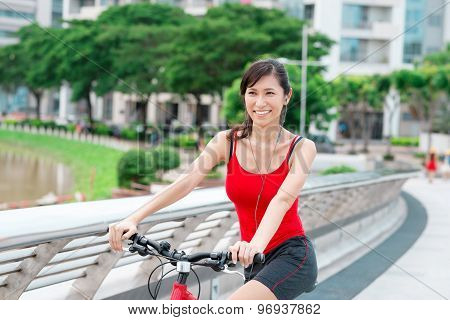 Pretty Woman On Bicycle