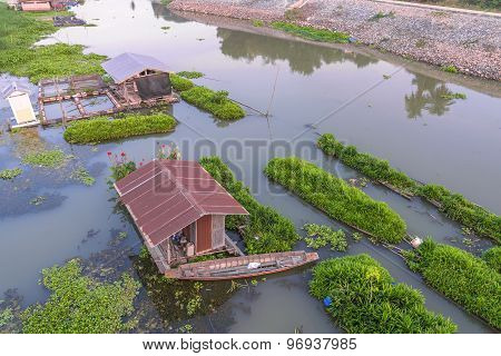 Wood Home In River, Thai Culture And Life Style Beside Canal