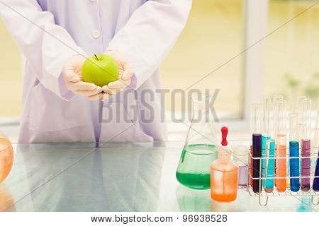 Scientist With Green Apple