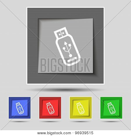 Usb Flash Drive Icon Sign On Original Five Colored Buttons. Vector