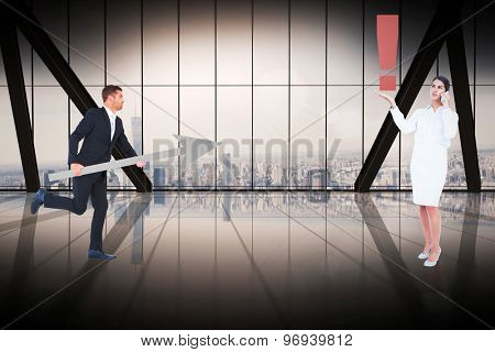 Business people with icons against room with large window looking on city