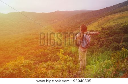 Happy Hiker Woman Standing In The Mountains