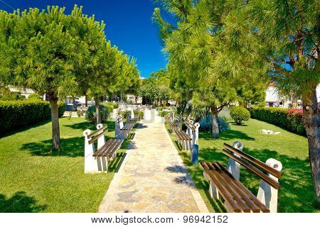 Mediterranean Park With Benches View