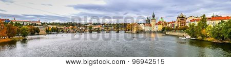 View On Charles Bridge And Vltava River In Prague