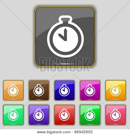 The Stopwatch Icon Sign. Set With Eleven Colored Buttons For Your Site. Vector