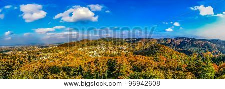 Top View On Forest And Carlovy Vary At Autumn