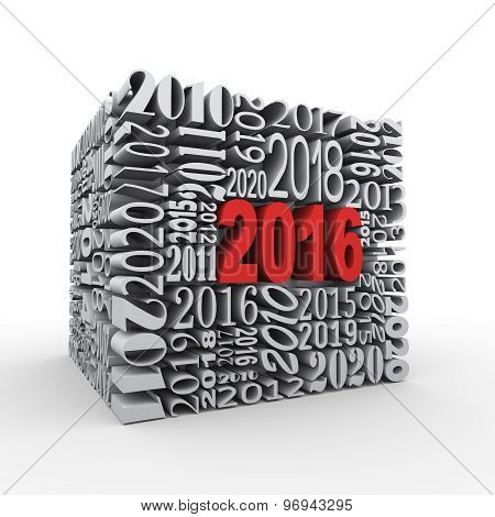 3D 2016 New Year Cube