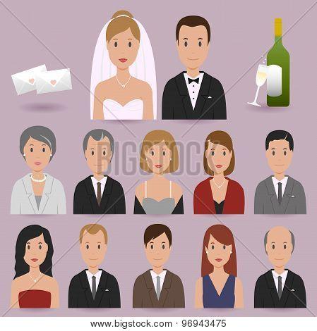 Bride, groom and wedding guests