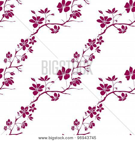 Twig Cherry Blossoms. Seamless