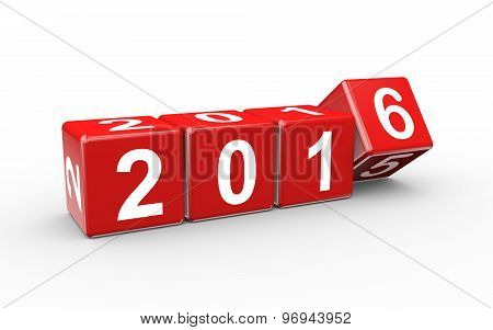 3D New Year 2016 Cubes Changing