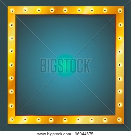Retro shining frame Light bulb banner with place for text.  illustration
