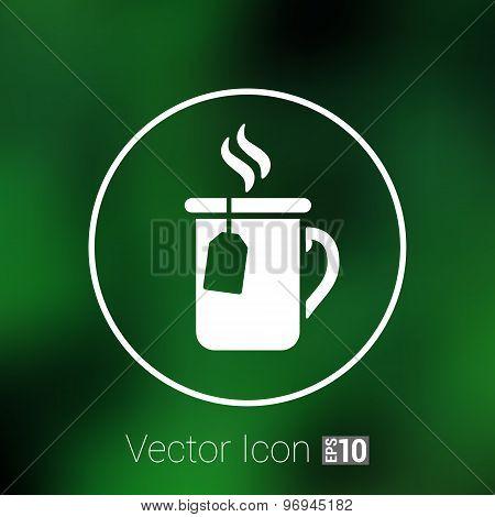 Cup of hot tea icon vector logo