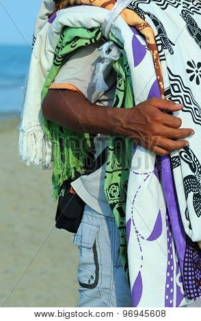 Street Vendor  Of Fabrics And Slipcovers On The Beach In Summer