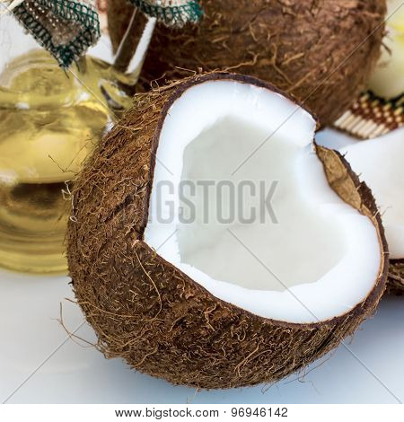 Fresh Close Up Coconut And Oil For Alternative Therapy