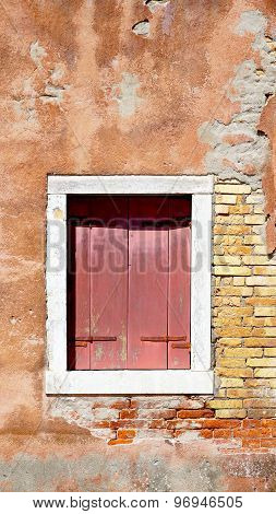 Red Wood Window And Ancient Decay Wall