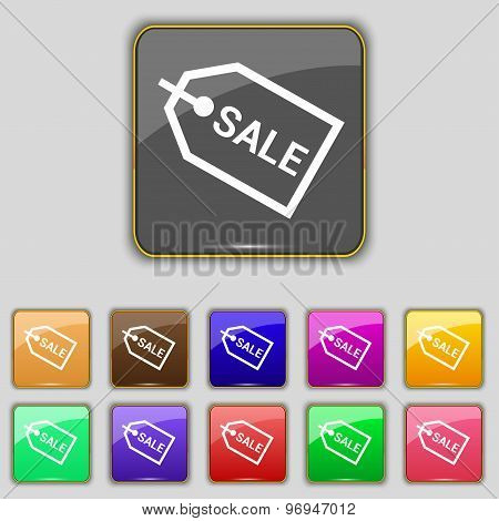 Sale Icon Sign. Set With Eleven Colored Buttons For Your Site. Vector