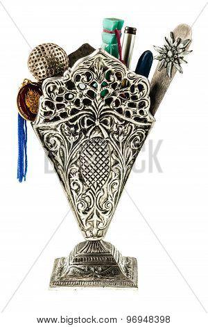 Old Silver Pen Holder