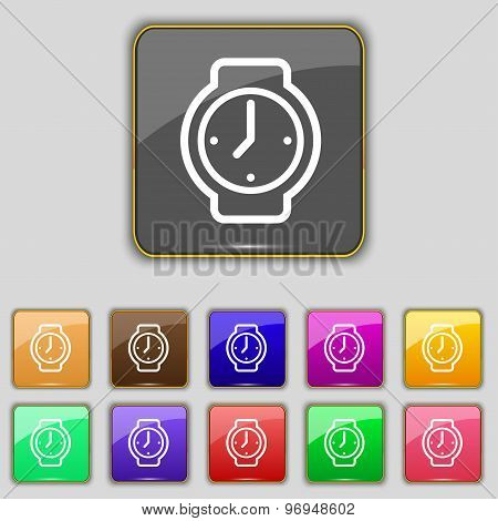 Watches Icon Sign. Set With Eleven Colored Buttons For Your Site. Vector