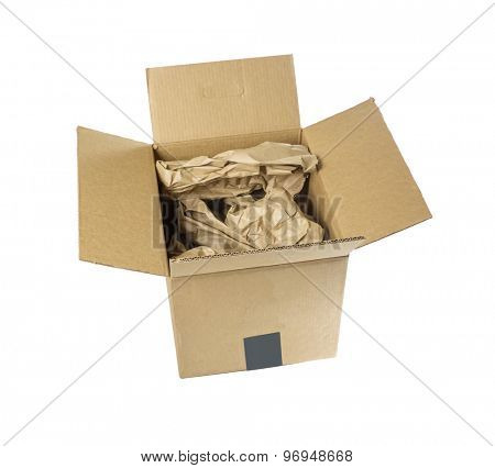 Cardboard box with packing