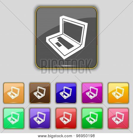 Laptop Icon Sign. Set With Eleven Colored Buttons For Your Site. Vector